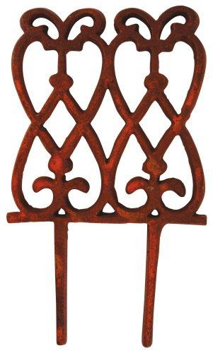 Esschert Design 5 Stück Beetzaun, Zierzaun, hoch, aus rötlichem Gusseisen, ca. 15 cm x 28 cm