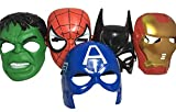 Set Of 5 Masks: Spider-Man, Batman, Hulk, Iron man, Captain America