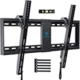 PERLESMITH Tilt Low Profile TV Wall Mount Bracket for Most 32-82 inch LED, LCD, OLED and Plasma Flat Screen TVs - Fits 16- 24 Wood Studs, Tilting TV Mount with VESA 600 x 400 Holds up to 132lbs