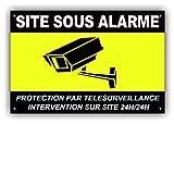 Panneau Télésurveillance SITE sous Alarme en PVC + 4 Trous avec Texte : Protection par télésurveillance - Intervention sur site 24H/24H - CNJ (300 x 200 mm)