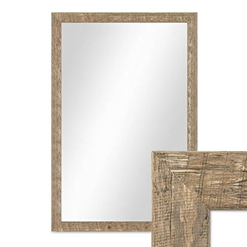 PHOTOLINI Wand-Spiegel 46x66 cm im Holzrahmen Strandhaus-Stil Eiche-Optik Rustikal/Spiegelfläche 40x60 cm