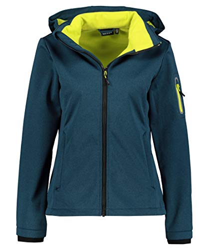 CMP Damen Winddichte und wasserdichte Melange-Softshelljacke WP 7.000, Deep Lake Mel-Lime, D38