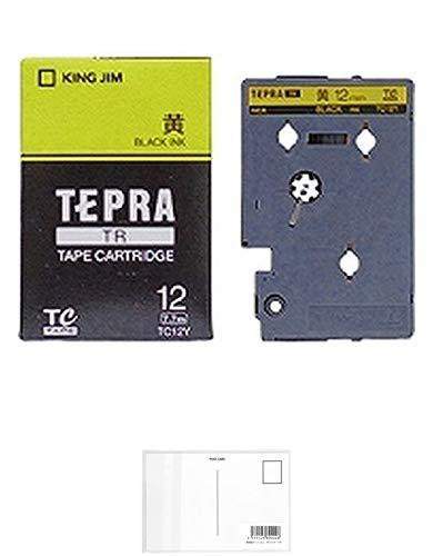 キングジム テープカートリッジ テプラTR 12mm TC12Y 黄 + 画材屋ドットコム ポストカードA