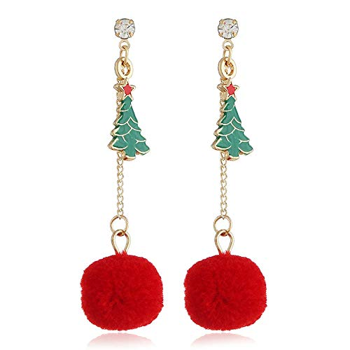 Women Christmas Hook Drop Dangle Earring Charm Tassel Xmas Tree Eardrop Jewelry Christmas Gift (Multicolor)