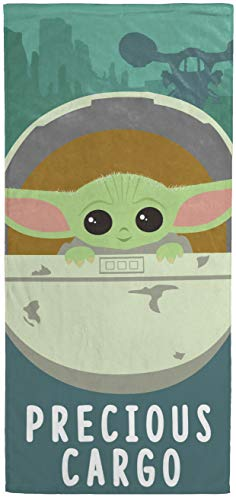 "Star Wars Mandalorian The Cutest Bounty Kids Bath/Pool/Beach Towel Featuring The Child Baby Yoda - Super Soft & Absorbent Fade Resistant Cotton Towel, Measures 28"" x 58"" (Official Star Wars Product)"