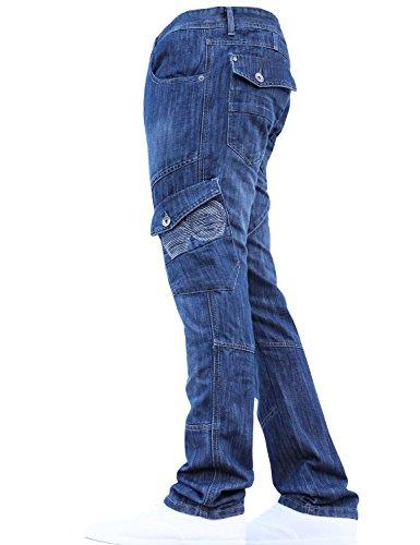CrossHatch Neue Herren Designer Heavy Duty Multi Pocket Dunkellicht Cargo Combat Denim Jeans Hosen Alle Taillen & Beingrößen von JEANBASE Stein wäsche 40W X 34L