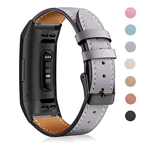 Mornexband kompatibel Fitbit Charge 3 Strap/Charge 3 SE Lederband, klassisch verstellbares Ersatz-Armband Fitness-Zubehör Metallverbinder, 10.Black-Gray, 5.5\'\'-8.1\'\'