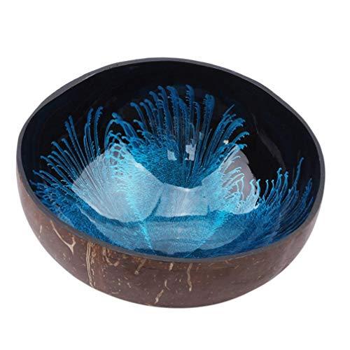 TOSSPER Kreative Natureal Kokosnuss Schale Tinte kreative Verzierung Lagerung Schüssel Eco Friendly Suppe Salat Nudel Lagerung Abschnitt Coconut Bowl zufällige Farbe