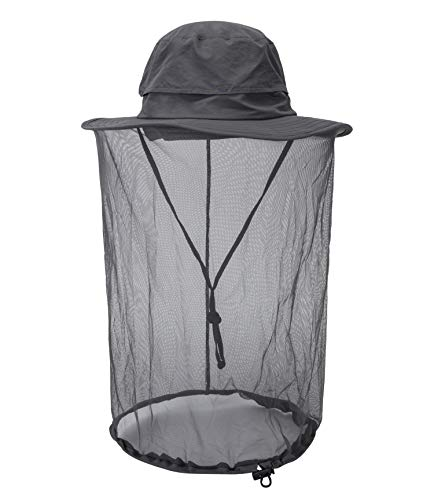Home Prefer Mosquito Net Hat Airy Mesh Sun Protection Hat Beekeeper Bucket Hat Dark Gray