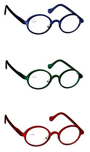 Lesebrille Damen Herren blau grün rot rund leicht oval groß Softtouch schmale Bügel Lesehilfe Sehhilfe 1.0 1.5 2.0 2.5 3.0 3.5, Dioptrien:Dioptrien 3.5, Farbe:Rot