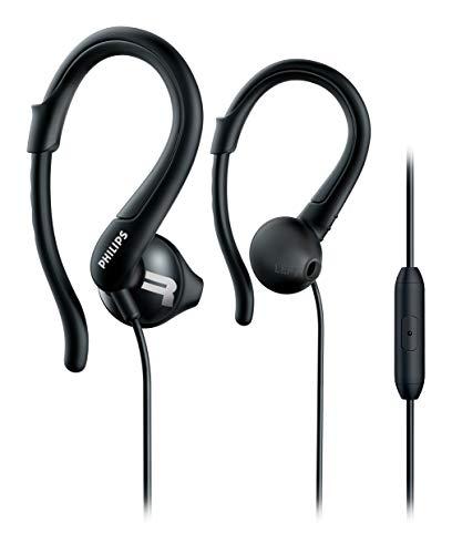 Philips SHQ1255TBK Auriculares para deporte con cable micrófono, gancho, Negro