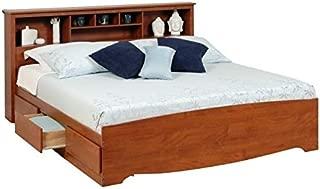 Prepac Monterey King Bookcase Platform Storage Bed in Cherry