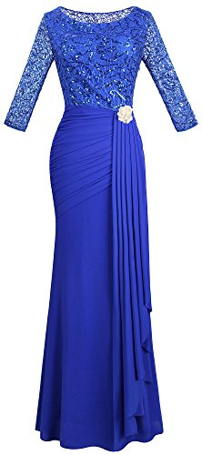 Angel-fashions Damen V-Ausschnitt Paillette Halbe Ärmel Meerjungfrau Mantel Maxi Hochzeitskleid (S, Blau)