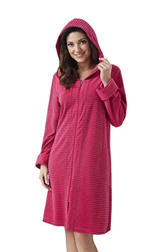 DOROTA Albornoz de algodón suave y moderno con bolsillos, cremallera y capucha. Rayas frambuesas. S