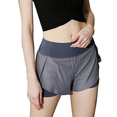 iMixCity Pantalones Cortos de Gimnasia para Mujer 2 en 1 Doble Capa Banda de Cintura elástica Running Yoga Short con Bolsillo