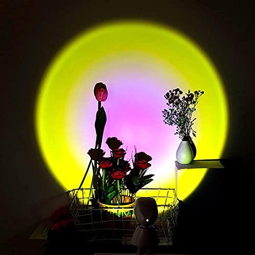 Puesta de sol Arco iris Proyección de pie de proyección Lámpara de sol LED Romántico Luz de noche para niños decoración incomparable Luz de proyector de arco iris natural, lámpara de puesta de sol con