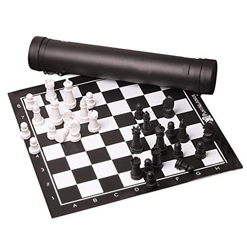 XLYYHZ Juego de ajedrez portátil, Tablero de ajedrez Enrollable de Viaje, enseñanza de ajedrez Entre Padres e Hijos con Tubo de Transporte para niños, niñas, Juegos Familiares