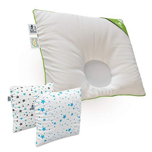 Lelekka® Gr. 1 Baby-Kopfkissen inkl. 2 Bezüge. Mit ALOE VERA für empfindliche Haut. Babykissen gegen Verformung & Plattkopf für eine schöne Kopfform (Bezüge Tupfen blau & Tupfen grün)