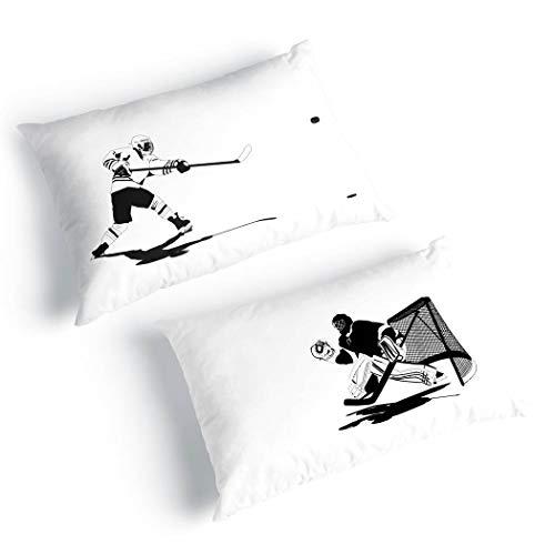 Go for The Goal Pillowcase | Hockey Pillows by ChalkTalk Sports | Black/White