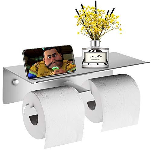 Toilettenpapierhalter - Wandmontierte Toilettenpapierhalter mit Doppelrollen für alle Arten von Toilettenpapier, Gewebehalter mit geräumigem Regal für Küche und Badzimmer (L, Silber)