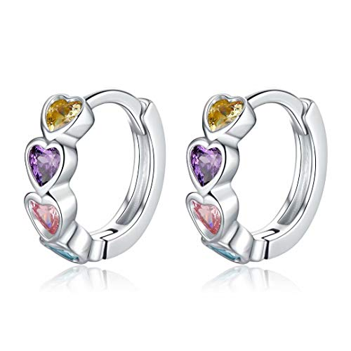 Qings Huggie Hoop Earrings, Colorful Heart Earrings 925 Sterling Silver Earrings with CZ Infinity Tiny Hoops Dainty Stud Earrings Birthday Gifts for Women Girls