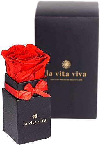 LA VITA VIVA Infinity Rosen Box, echte Rose rot, 3 Jahre haltbar, Rosenbox als Geschenk zum Muttertag, Jahrestag für unvergessliche Momente zu Zweit