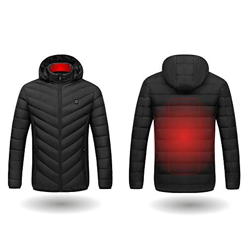 LXC Unisex Electric Heated Jacket - Windproof Insulated Coat, USB Heating Body Warmer for Bicycle/Motorcycle/Fishing/Skiing/Snow Plow