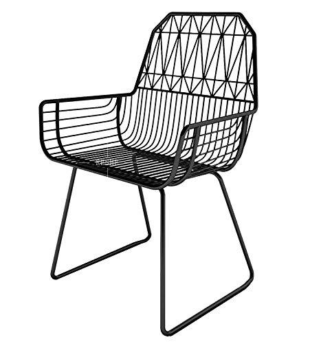 GYCOZ Decoración hogareña Silla de Mesa Creativa Metal Simple Moderno Handrail Diseño Silla de computadora Silla de Ocio al Aire Libre (Color : Negro)