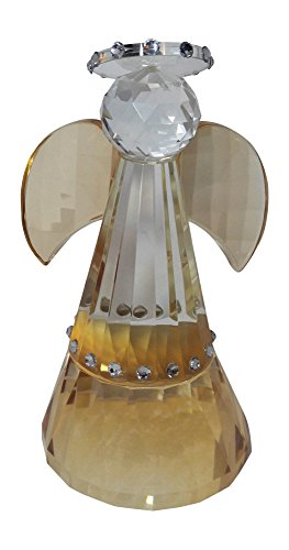 """Oleg Cassini Crystal Tall Guardian Angel Paperweight - Gift Boxed (5 3/4"""" Tall) (Crystal)"""