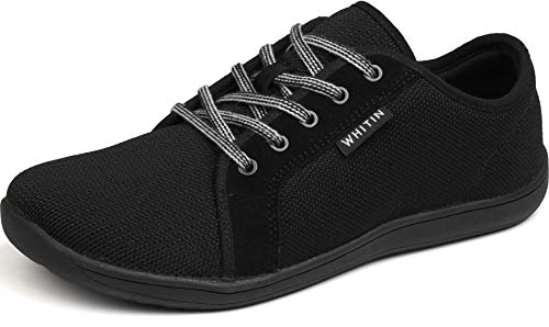 WHITIN Women's Minimalist Knit Barefoot Sneakers, Size 7 Low Zero Drop Sole with Arch Support Wide Width Toe Box Casual Lace Up Flats Tennis Driving Shoes Lady Black 37