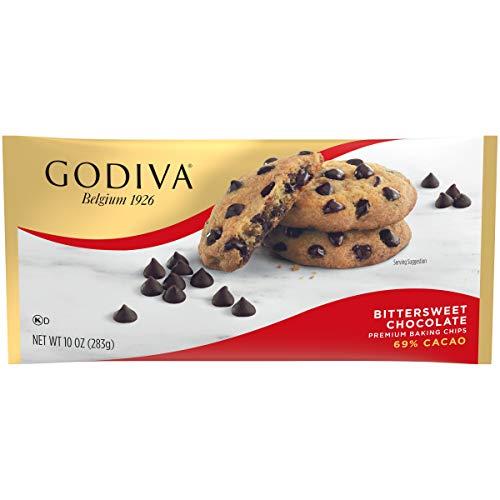 GODIVA Bittersweet Chocolate Premium Baking Chips (11 oz Bag, Pack of 12)