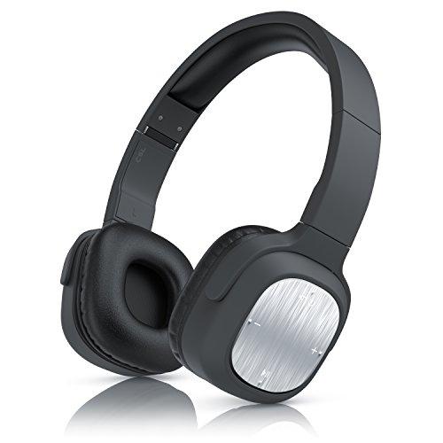 CSL - Bluetooth Kopfhörer Alu 320er - Wireless Earphone - On Ear Ohrhörer - Bluetooth V4.0 - schwarz Silber