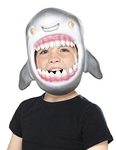 Smiffys Kinder Unisex Hai Maske, Ganzer Kopf, One Size, Grau, 46975