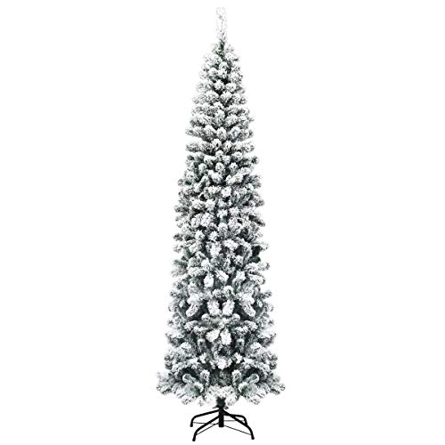 Goplus 7.5ft Artificial Snow Flocked Christmas Tree, Unlit Pencil Hinged Pine Tree with Metal Stand, Slim Xmas Snowy Tree for Indoor and Outdoor Use