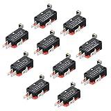 HiLetgo 10pcs V-156-1C25 Lead Limit Switch SPDT Switch Silver Base Contact Roller Swing
