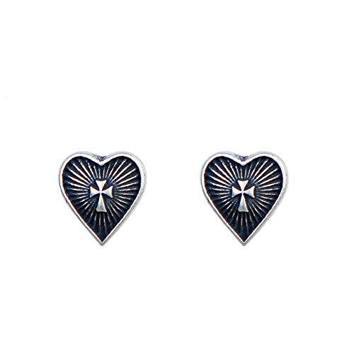 Pendientes de plata de ley S925 con forma de corazón sagrado y cruz, antialergia, para hombre y mujer, estilo punk