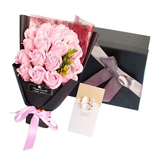 Amycute 18 Stück Seifenrosen Blumenstrauß, Ewige Blume, künstlicher Rosenstrauß mit Geschenkbox, Valentinstag, Geburtstag, Hochzeit rose