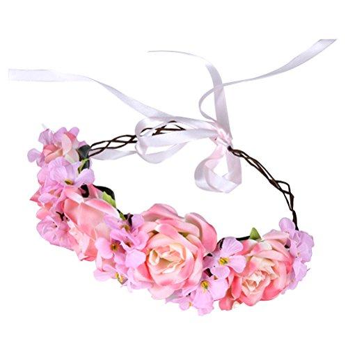 Frcolor Künstliche Blumen-Haar-Band-Stirnband für Hochzeits-Verlobungsfeier-Cocktailparty (Rosa)