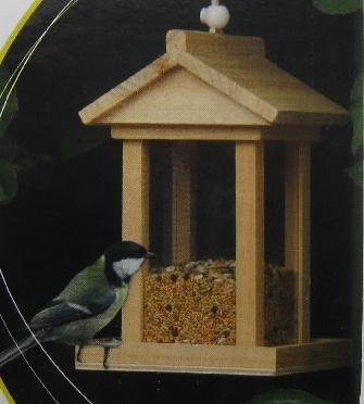 Holz Vogelhäuschen / Vogelfutter Haus / Vogelfutterhaus ca. 14,5 x 14,5 x 22cm, Vogelhaus zum Hängen und Stellen, M-45471