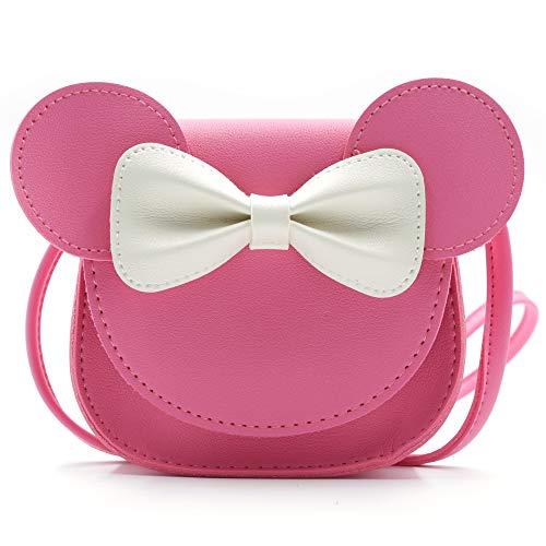 HXQ Little Mouse Ear Bow Crossbody Purse,PU Shoulder Handbag for Kids Girls Toddlers(Rose Pink)