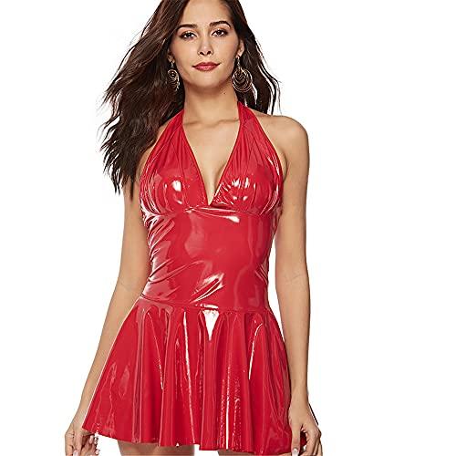 wonline Minikleid Club Party Kunstleder Bustier Korsett Minikleid Damen Lederkleid Sexy Kleid Nachtclubwear Clubwear Partykleid Erotische Dessous PVC Kleid (XXL,rot)