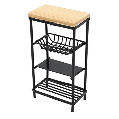 Ogquaton Meubles de cuisine 1/12 de haute qualité de Dollhouse à 3 niveaux, accessoires de vaisselle, support de stockage, blanc, durabilité