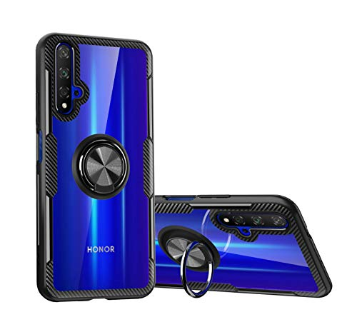 SORAKA Hülle für Huawei Nova 5T/Honor 20 mit Ringständer,Harter PC durchsichtiger Abdeckung+Silikon Rahmen transparente hülle mit Metallplatte für Handyhalterung Auto KFZ Magnet