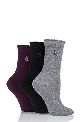 Film & TV Damen 3 Paar SockShop Harry Potter Bestickte Detail Baumwollsocken - Sortiert 37-40