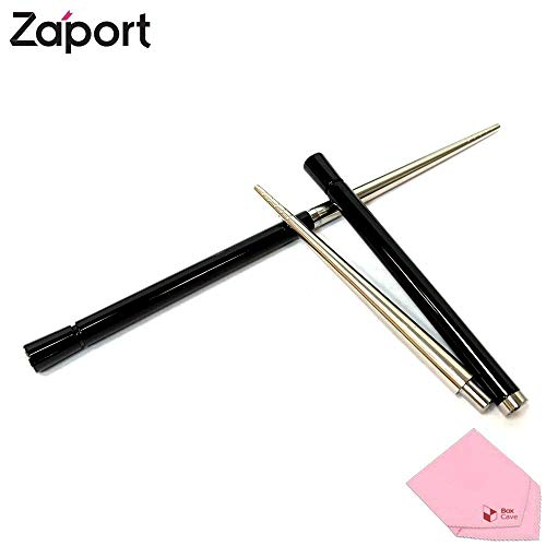 Zaport Stainless Steel Chopsticks | Patented Detachable Magnetic Take Apart Reusable Travel Chopsticks with Case/Pouch (Black)