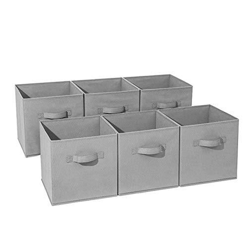Juego De 6 Cubo Plegable Cajas De Almacenamiento, Organizador Cubo Cesta Cesta con Asas para Lavandería Juguetes Ropa DVDs Libros Comida Ropa De Cama-Gris Beige