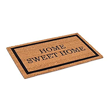 BirdRock Home Home Sweet Home Coir Doormat | 18 x 30 Inch | Standard Welcome Mat with Black Border and Natural Fade | Vinyl Backed | Outdoor