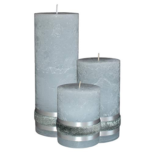 Badidi  Grey Candles  Large Pillar Set of 3  Home Spa Garden Decor  Table Display  Premium Gift Set  Unscented  Hand Made  Solid Colour  Different Sizes  Long Burn Time