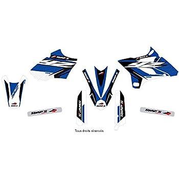 KIT Deco Motocross Yamaha YZ 125 Camo Star Bleu Noir 2015-2019 4 MINIS PLAQUES OFFERTES