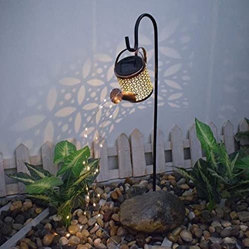 Lámparas de riego solar para jardín al aire libre, luces LED de estrella, luces de hadas, patio, césped, lámparas solares para decoración navideña (con soporte) (A-S)